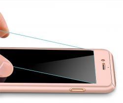 Husa Full Cover 360 (fata + spate + geam sticla) pentru Apple iPhone 7 Plus, Rose Gold [1]