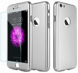 Husa Full Cover 360 (fata + spate + geam sticla) pentru Apple iPhone 7, Silver0