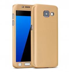 Husa Full Cover 360 (fata + spate + geam sticla) pentru Samsung Galaxy A5 (2016), Gold0