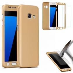 Husa Full Cover 360 (fata + spate + geam sticla) pentru Samsung Galaxy A5 (2017), Gold1