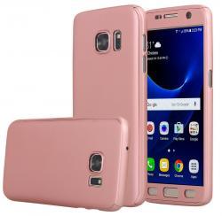 Husa Full Cover 360 (fata + spate + geam sticla) pentru Samsung Galaxy S7, Rose Gold