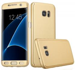 Husa Full Cover 360 (fata + spate) pentru Samsung Galaxy S7 Edge, Gold0