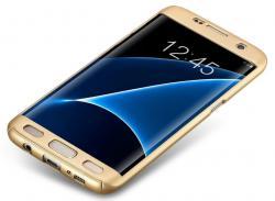 Husa Full Cover 360 (fata + spate) pentru Samsung Galaxy S7 Edge, Gold1