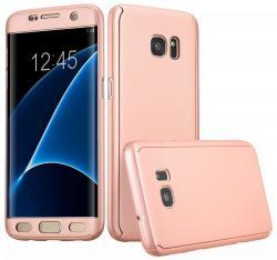 Husa Full Cover 360 (fata + spate) pentru Samsung Galaxy S7 Edge, Rose Gold0