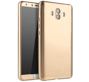 Husa Full Cover 360 + folie sticla Huawei Mate 10, Gold0