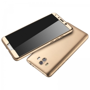 Husa Full Cover 360 + folie sticla Huawei Mate 10, Gold2