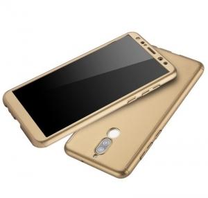 Husa Full Cover 360 + folie sticla Huawei Mate 10 Lite, Gold2