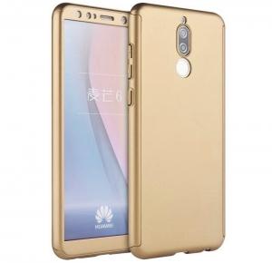 Husa Full Cover 360 + folie sticla Huawei Mate 10 Lite, Gold0