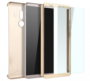 Husa Full Cover 360 + folie sticla Huawei Mate 10 Pro, Gold1