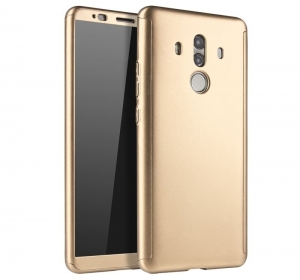 Husa Full Cover 360 + folie sticla Huawei Mate 10 Pro, Gold0