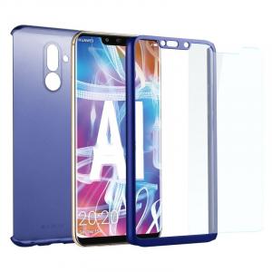 Husa Full Cover 360 + folie sticla Huawei Mate 20 Lite, Albastru1