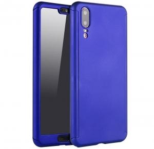 Husa Full Cover 360 + folie sticla Huawei P20, Albastru0