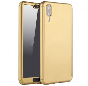 Husa Full Cover 360 + folie sticla Huawei P20, Gold0
