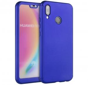 Husa Full Cover 360 + folie sticla Huawei P20 Lite, Albastru0