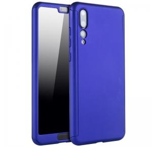 Husa Full Cover 360 + folie sticla Huawei P20 Pro, Albastru0