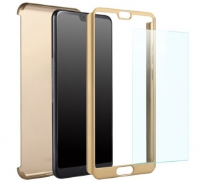 Husa Full Cover 360 + folie sticla Huawei P20 Pro, Gold [1]