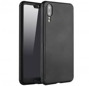 Husa Full Cover 360 + folie sticla Huawei P20 Pro, Negru [0]