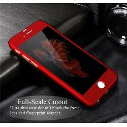 Husa Full Cover 360 + folie sticla iPhone 6 / 6S, Red3