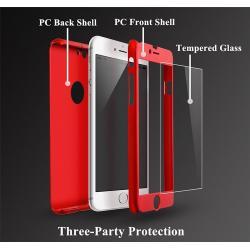 Husa Full Cover 360 + folie sticla iPhone 6 / 6S, Red1