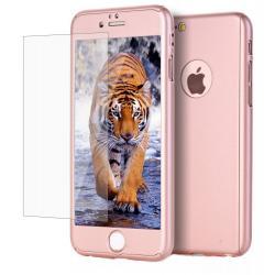 Husa Full Cover 360 + folie sticla iPhone 7, Rose Gold0
