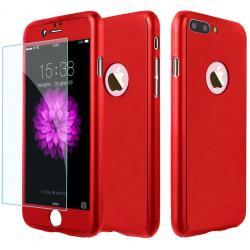 Husa Full Cover 360 + folie sticla iPhone 8 Plus, Red0