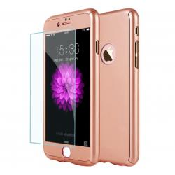 Husa Full Cover 360 + folie sticla iPhone 8 Plus, Rose Gold0
