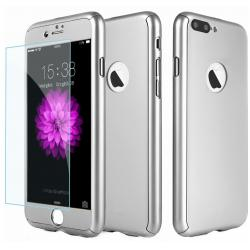 Husa Full Cover 360 + folie sticla iPhone 8 Plus, Silver