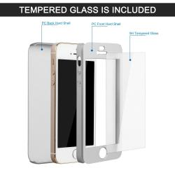 Husa Full Cover 360 + folie sticla iPhone SE / 5 / 5S, Silver1