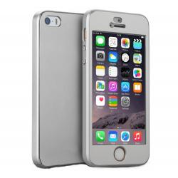 Husa Full Cover 360 + folie sticla iPhone SE / 5 / 5S, Silver0