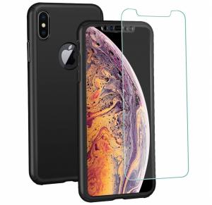 Husa Full Cover 360 + folie sticla iPhone XS Max, Negru0
