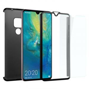 Husa Full Cover 360 + folie sticla pentru Huawei Mate 20, Negru1