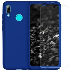 Husa Full Cover 360 + folie sticla pentru Huawei P Smart (2019), Albastru0