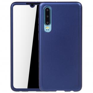 Husa Full Cover 360 + folie sticla pentru Huawei P30, Albastru0