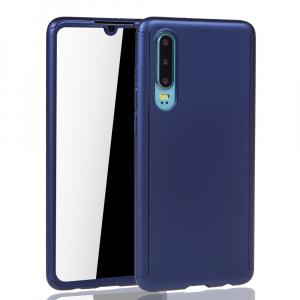 Husa Full Cover 360 + folie sticla pentru Huawei P30, Albastru1