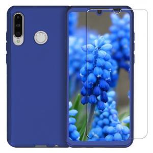 Husa Full Cover 360 + folie sticla pentru Huawei P30 Lite, Albastru0
