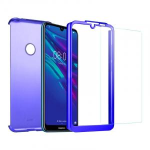 Husa Full Cover 360 + folie sticla pentru Huawei Y7 2019, Albastru1