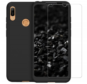 Husa Full Cover 360 + folie sticla pentru Huawei Y7 2019, Negru0