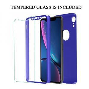 Husa Full Cover 360 + folie sticla pentru iPhone XR, Albastru1