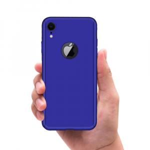 Husa Full Cover 360 + folie sticla pentru iPhone XR, Albastru3