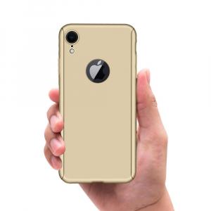 Husa Full Cover 360 + folie sticla pentru iPhone XR, Gold3