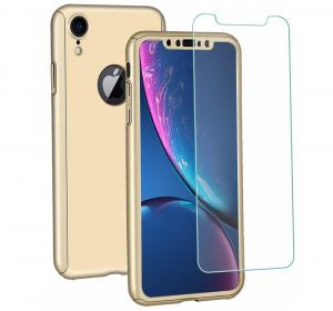 Husa Full Cover 360 + folie sticla pentru iPhone XR, Gold0