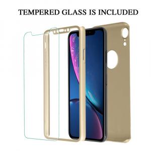 Husa Full Cover 360 + folie sticla pentru iPhone XR, Gold1