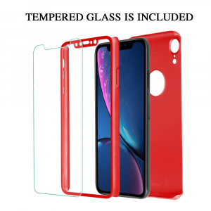 Husa Full Cover 360 + folie sticla pentru iPhone XR, Red1