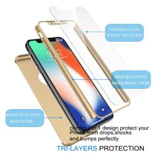 Husa Full Cover 360 + folie sticla pentru iPhone XS, Gold3
