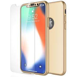 Husa Full Cover 360 + folie sticla pentru iPhone XS, Gold0