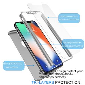 Husa Full Cover 360 + folie sticla pentru iPhone XS, Silver2