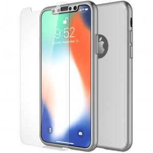 Husa Full Cover 360 + folie sticla pentru iPhone XS, Silver0