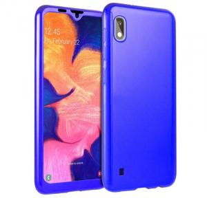 Husa Full Cover 360 + folie sticla pentru Samsung Galaxy A10, Albastru0