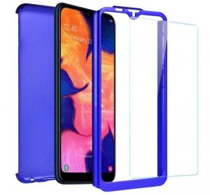 Husa Full Cover 360 + folie sticla pentru Samsung Galaxy A10, Albastru1