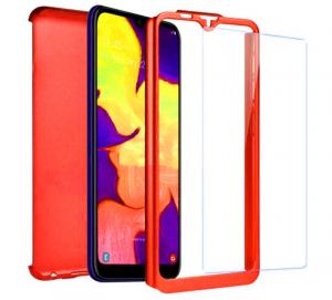 Husa Full Cover 360 + folie sticla pentru Samsung Galaxy A10, Red1